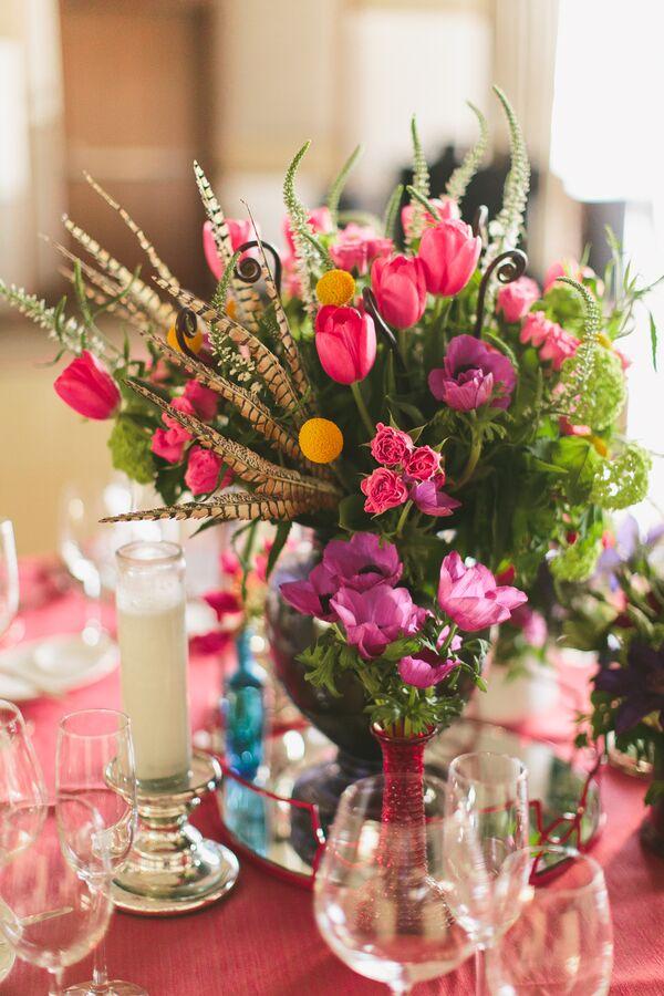 Feather wedding centerpieces bright pink flower centerpiece with greenery mightylinksfo