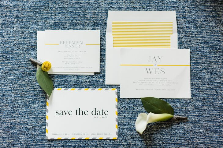 """We went for a vintage vibe with all print pieces,"" Wes says of the invites, designed on Minted.com. ""We wanted the menus and signs to look like they were produced for a wedding in the 1950s."""