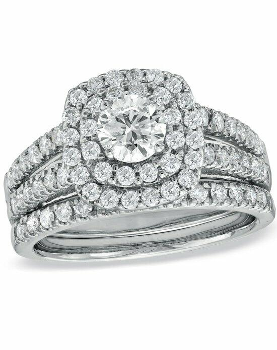 Zales 1-1/2 CT. T.W. Diamond Double Frame Bridal Set in 14K White Gold  18272310 Engagement Ring photo