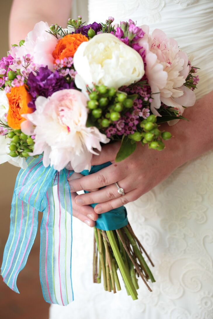 Vibrant Fresh Flower Wedding Bouquet With Turquoise Wrap