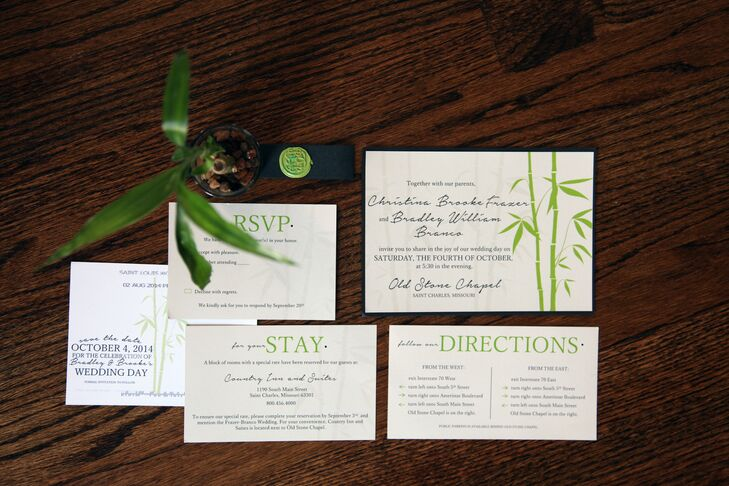 Brooke's maid of honor is a brilliant graphic designer as a hobby and created all the stationery for the wedding. The invitations were printed on ivory paper with green bamboo decorations. Brooke, with the help of her bridesmaids, stamped and stuffed every one into gray envelopes.