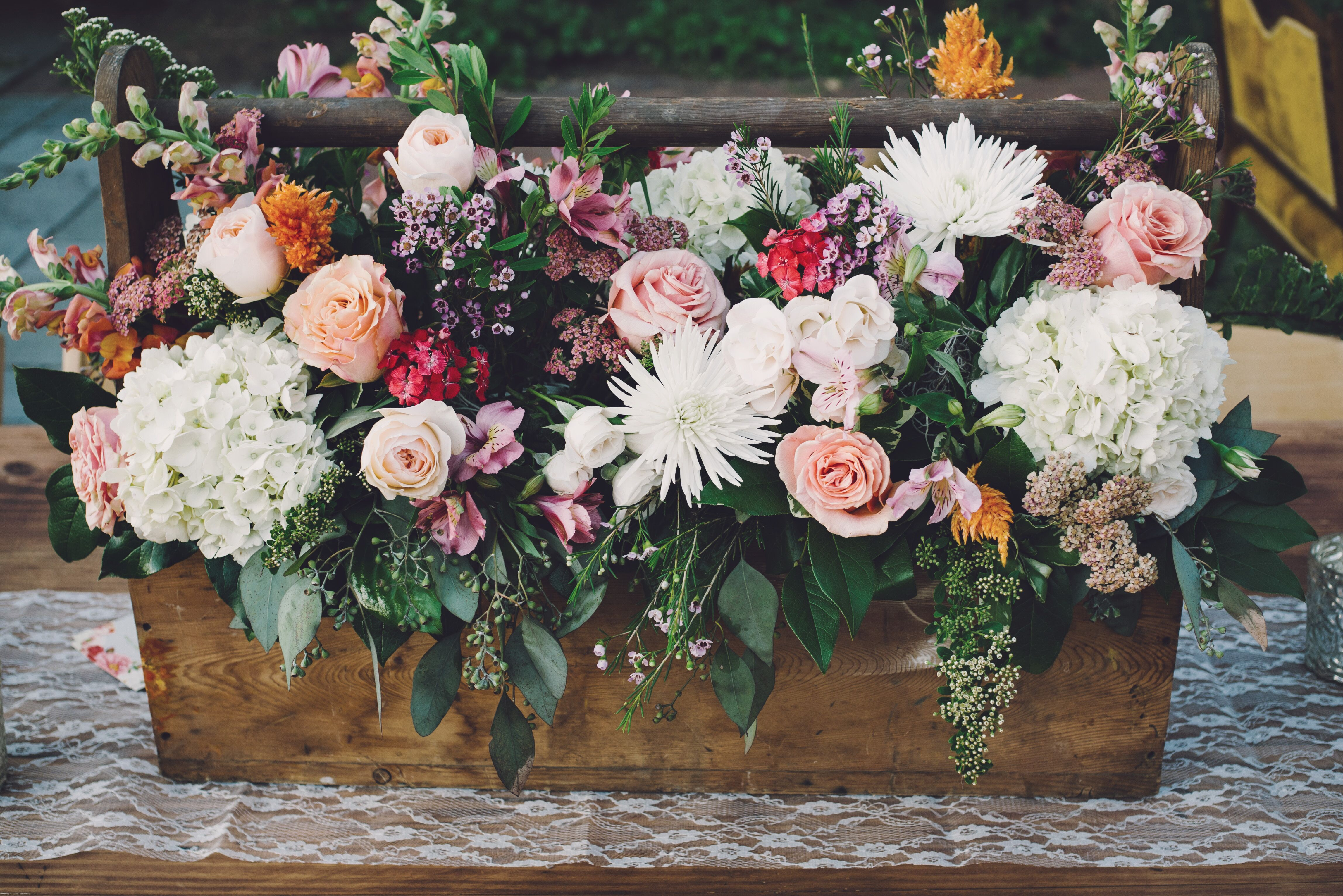 Wood Box Flower Arrangement With Peonies And Chryanthemums