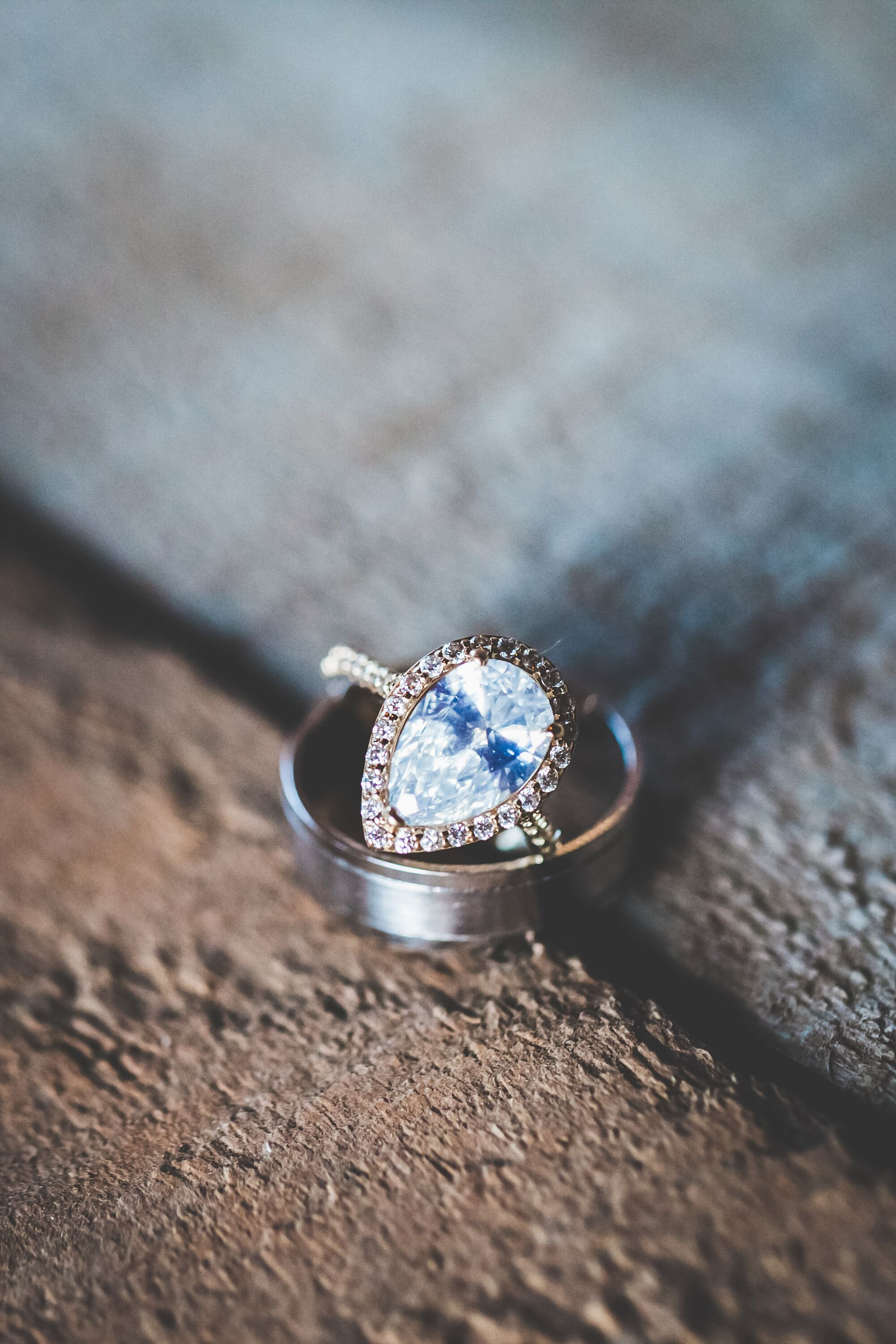 Blue Teardrop Diamond Engagement Ring