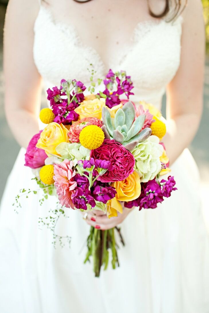 Fuchsia And Yellow Bridal Bouquet