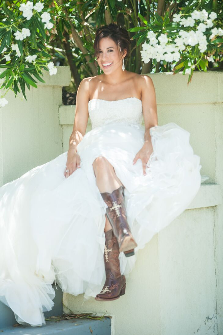 Galveston Bride in Ball Gown and Cowboy Boots