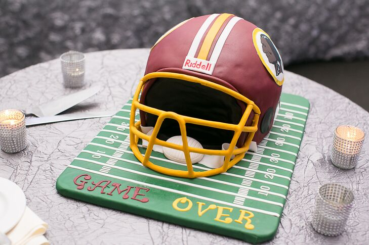 """Game Over"" Football Helmet Cake"