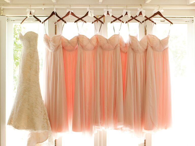 Blush bridesmaid dresses with wedding dress