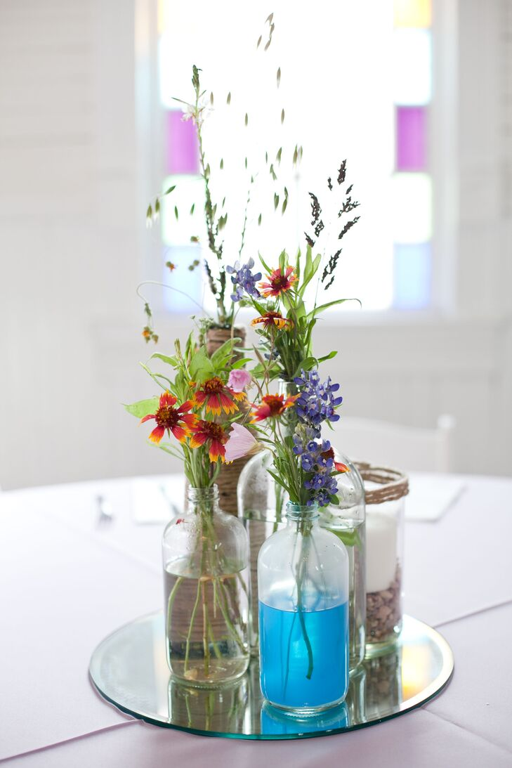 Texas Wildflower Inspired Bluebonnet And Indian Blanket Centerpieces