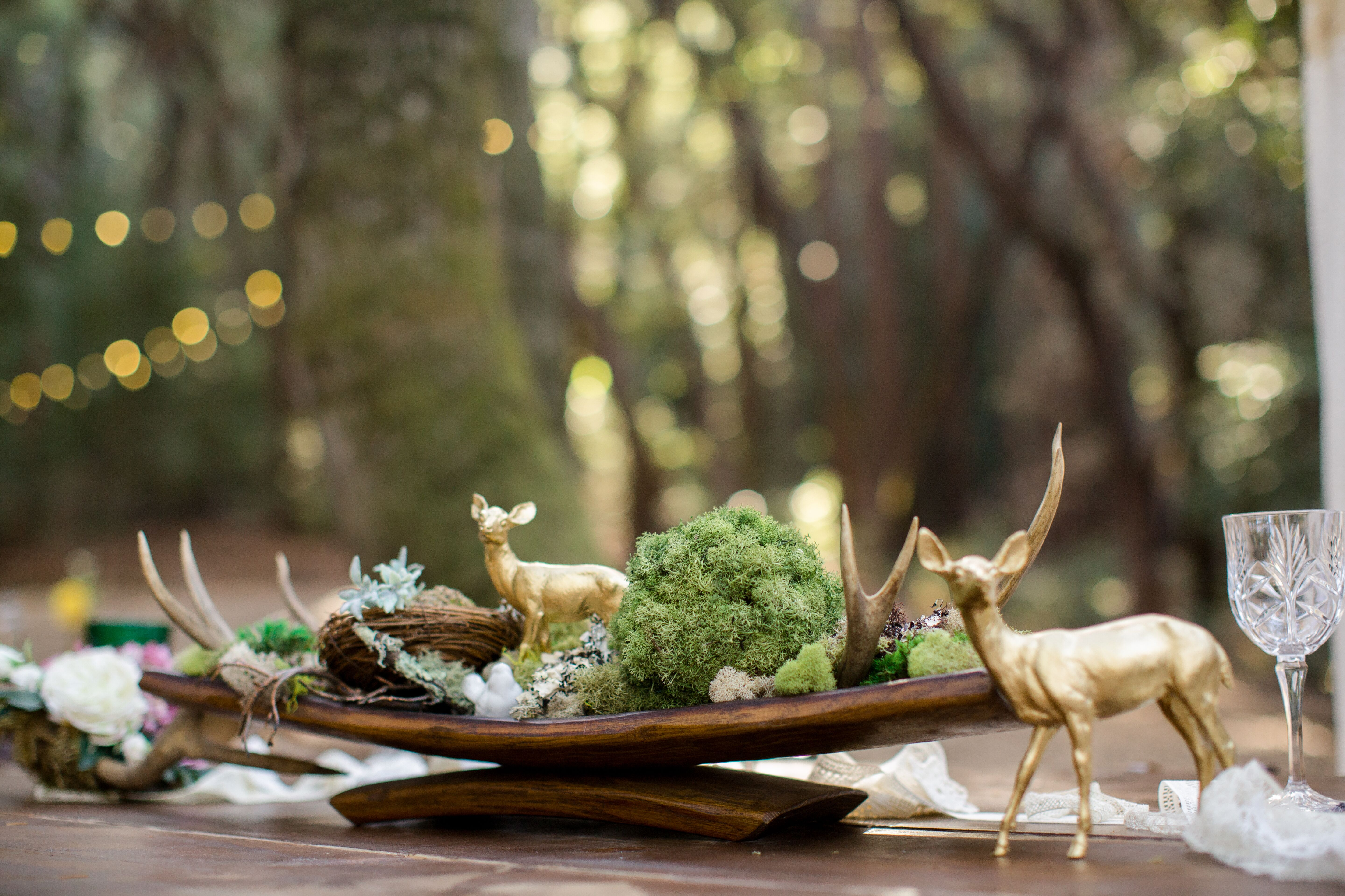 Moss wood and antler natural centerpiece