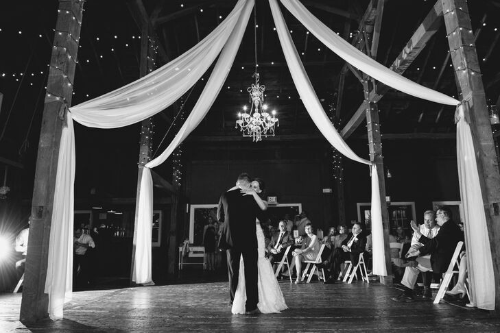"""The spontaneous auction during our reception where Nathan auctioned me off for a dollar dance reflects the fun in our relationship,"" Renee says. ""Nathan is a licensed auctioneer and decided to put a little element of surprise into our night."""