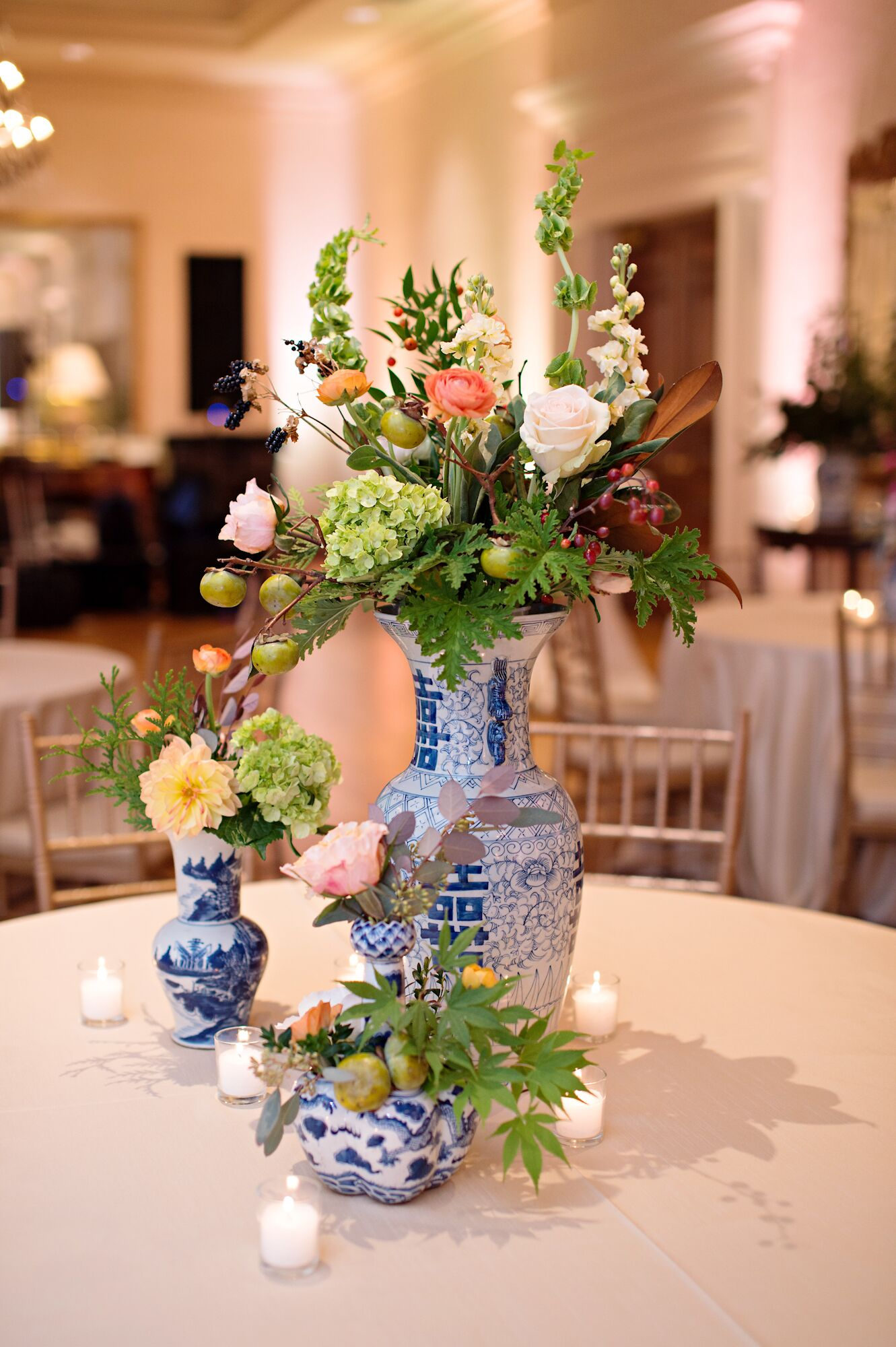 Blue and white porcelain vase centerpieces