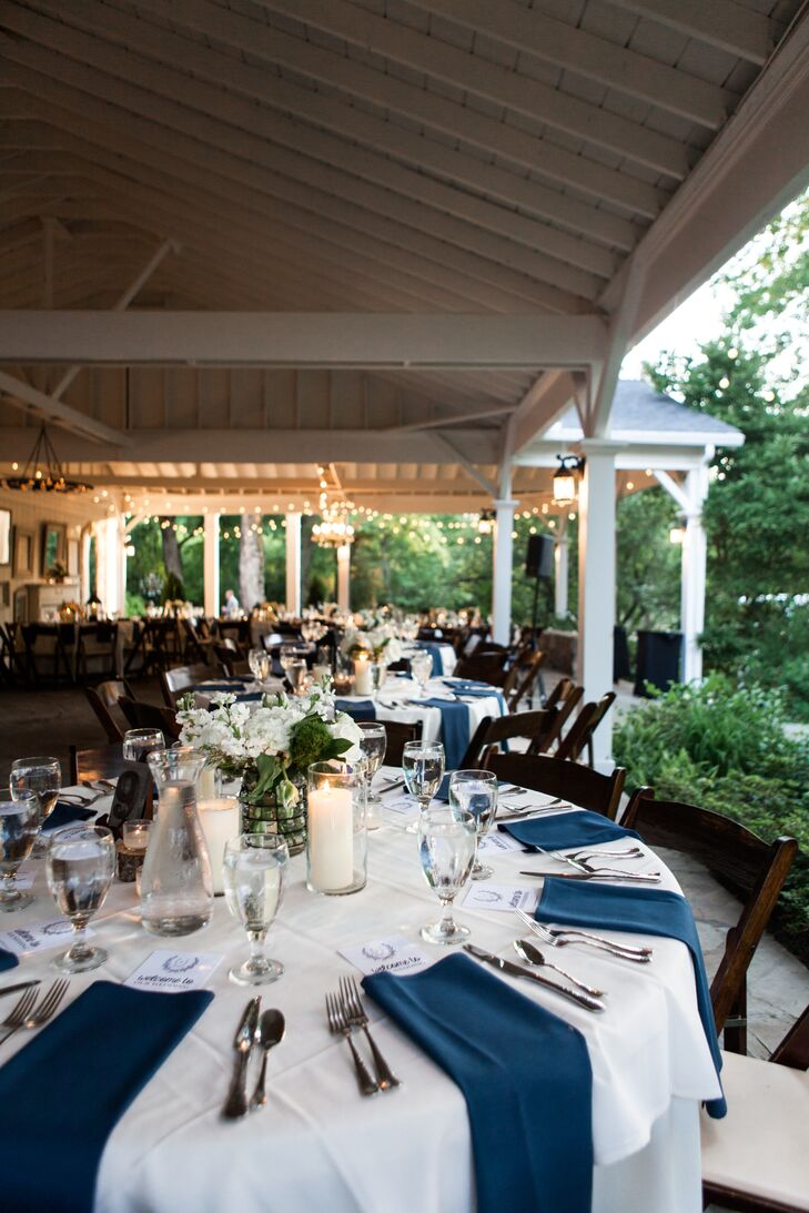 Dinner was served on the covered pavilion at the historic estate, set to live jazz. Courtney and Jason sat at a long head table with their family members.