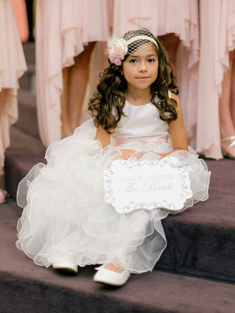 Long curly hairstyle with headband for flower girls