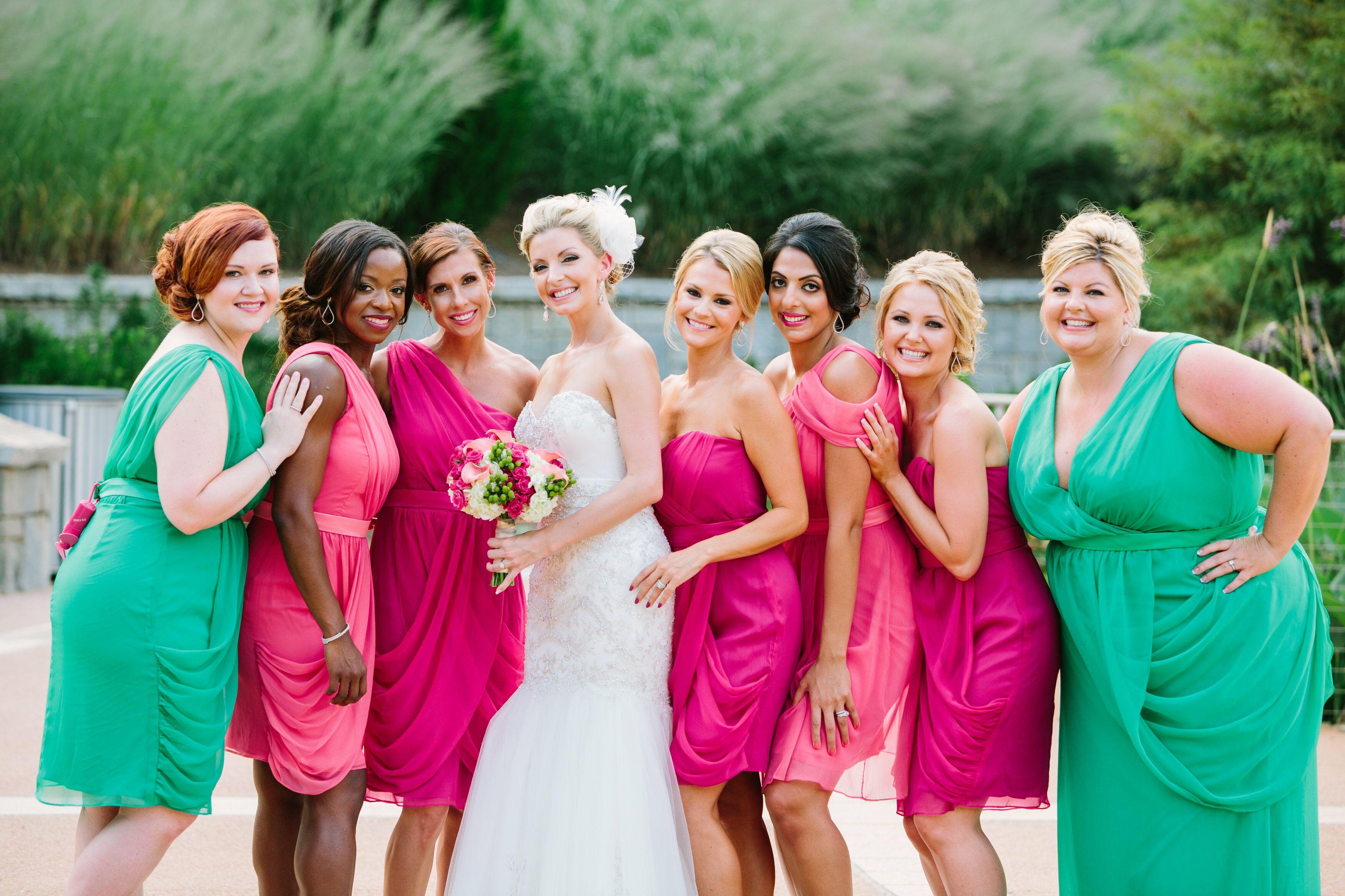 Colorful Mixed Pink And Green Bridesmaid Dresses