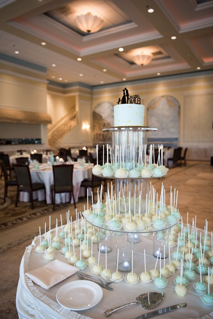 Rather than have a traditional wedding cake, Kim and Jim served chocolate raspberry and lemon cake pops for dessert at  their reception at Venuti's Ristorante & Banquet Hall in Addison, Illinois.