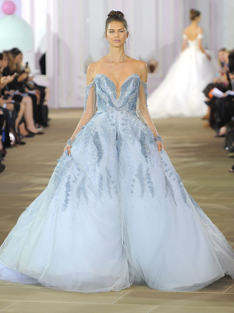 Pastel Blue Wedding Ball Gown With Off The Shoulder Sleeves And Crystal Embellishments