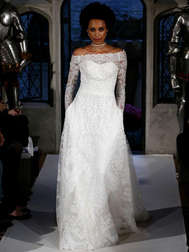 Oleg cassini spring 2018 collection bridal fashion week photos oleg cassini spring 2018 a line lace off the shoulder wedding dress junglespirit Gallery