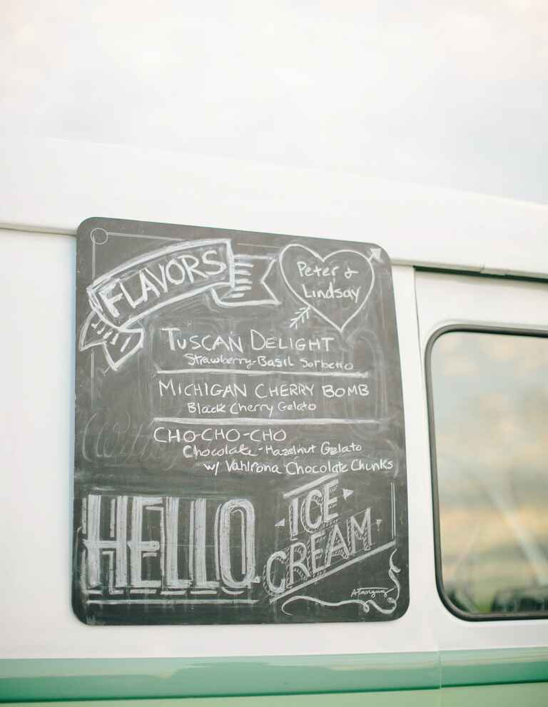Wedding reception ice cream truck chalkboard menu