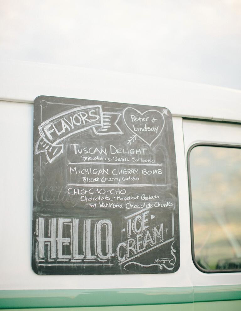 Wedding reception ice cream truck chalkboard menu