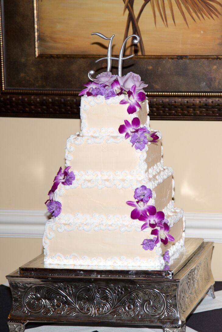 square wedding cakes purple flowers square wedding cake with purple orchids 20409