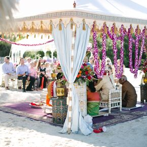Glam Indian Mandap with Phalaenopsis Orchid Garland & Beach Wedding Decorations + Accents