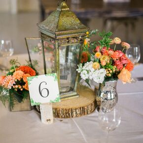 Vintage Gold Lantern And Coral Flower Centerpieces