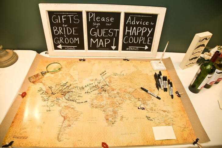 Jennie and Patrick had their guests sign a world map instead of a traditional guest book.