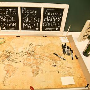 Diy wedding guest books world map guest book gumiabroncs Images