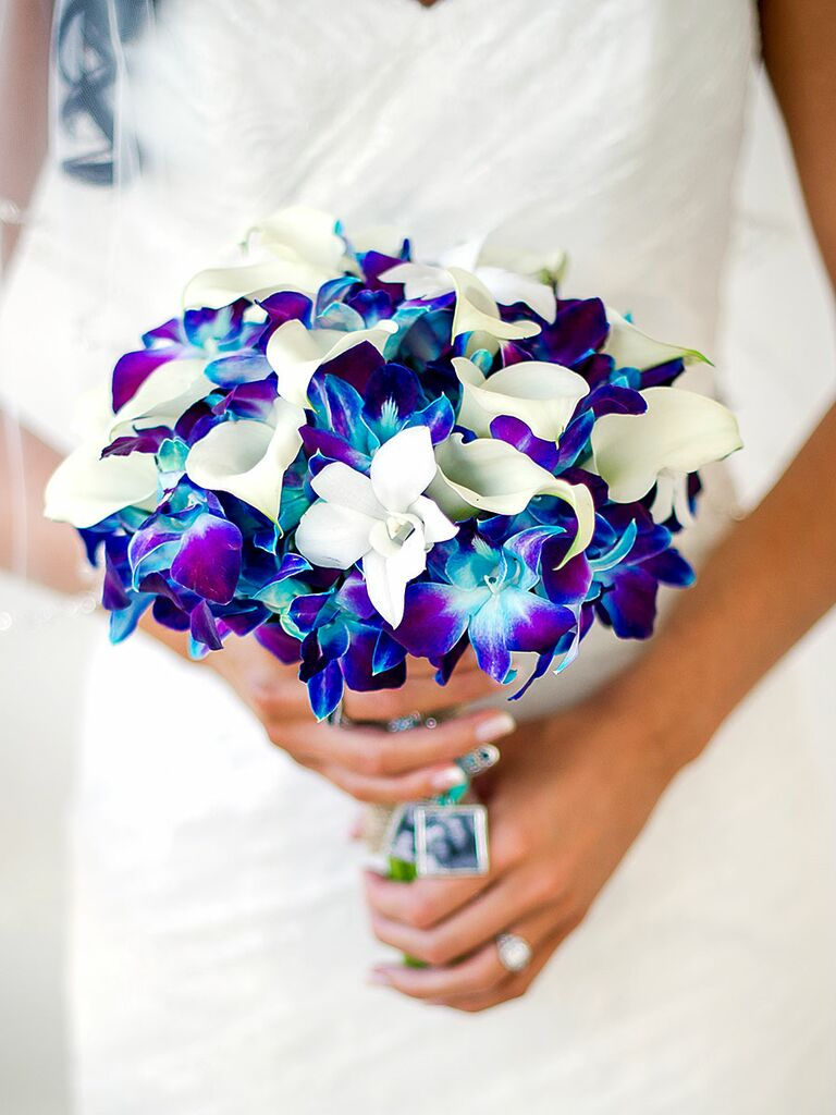 The best blue wedding flowers and 16 gorgeous blue bouquets blue and white wedding bouquet with calla lilies and orchid wedding bouquet junglespirit Gallery