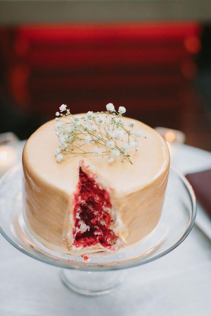 One Tier Red Velvet Wedding Cake