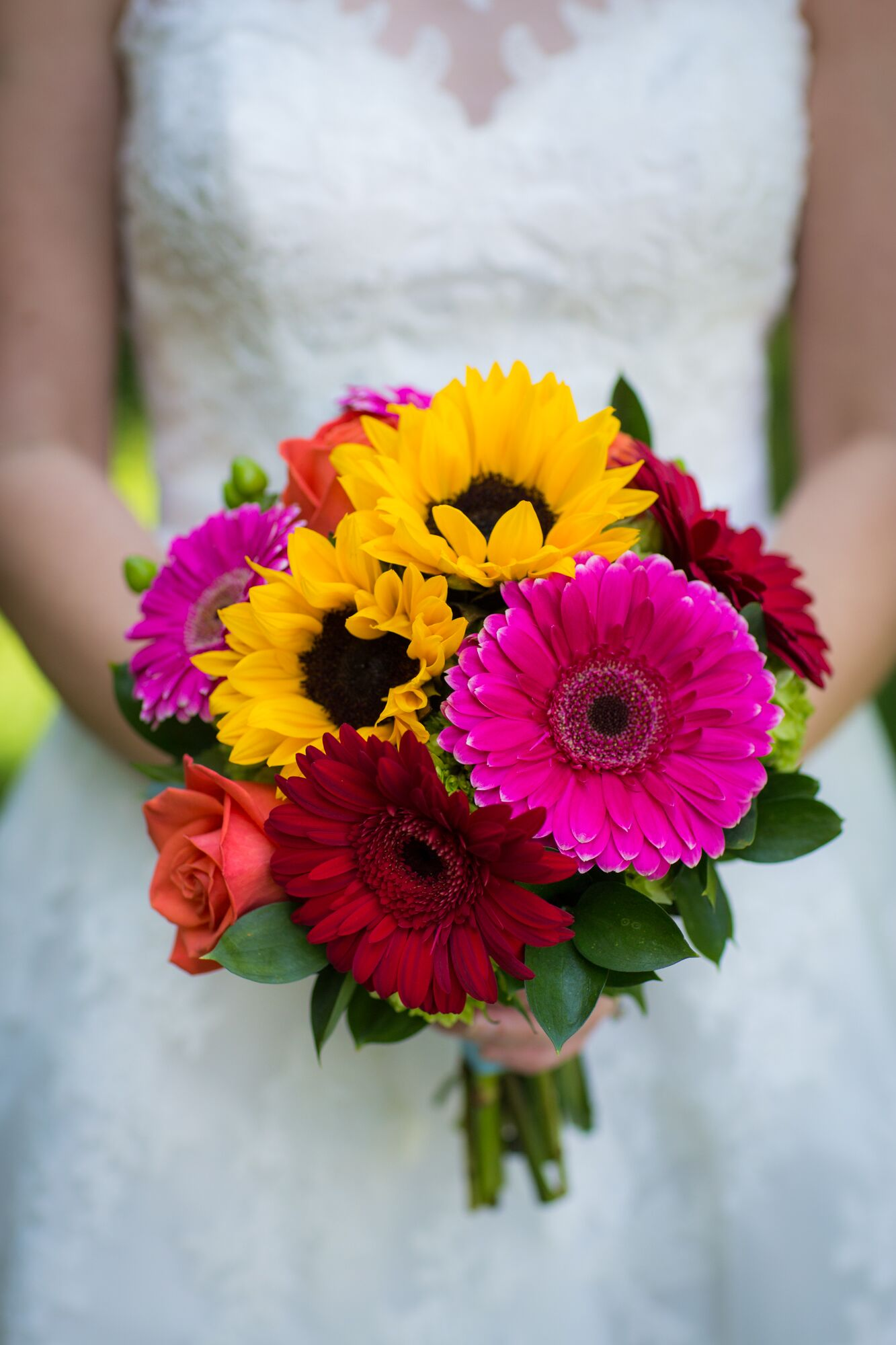 colorful gerbera daisy and sunflower bridal bouquet