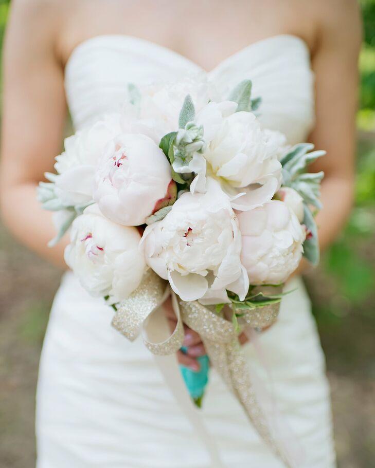 Blush Peony And Lamb S Ear Bridal Bouquet