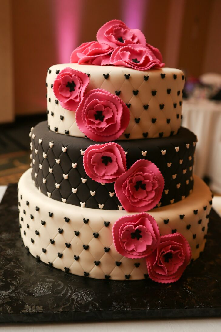 Black And White Fondant Wedding Cake With Pink Sugar Flowers