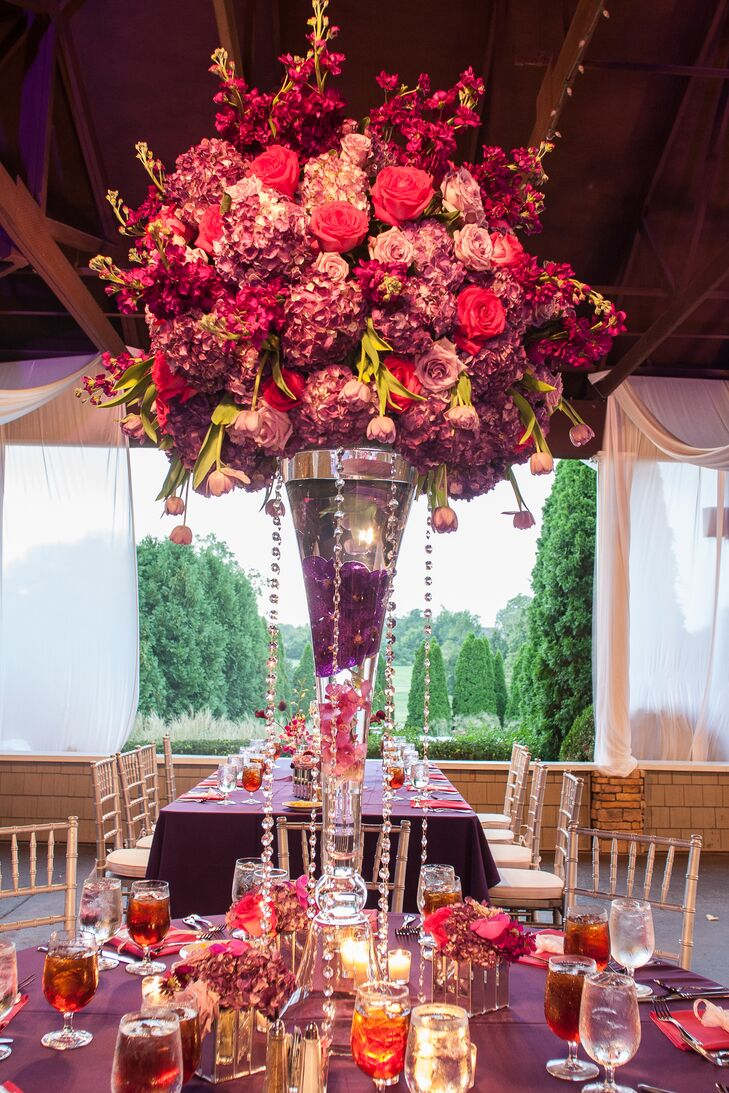 tall pink and purple floral centerpiece rh theknot com Purple and White Floral Centerpieces Purple and White Floral Centerpieces