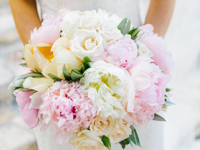 Pastel bridal bouquet with roses and peonies