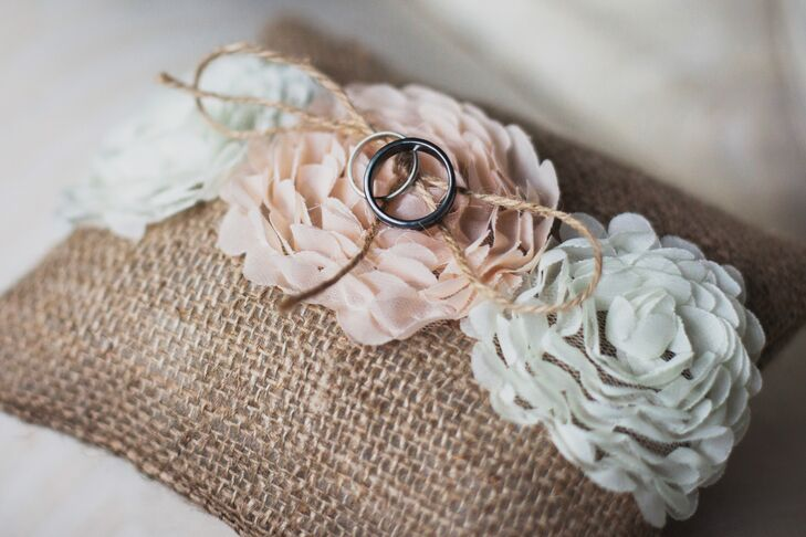 Wedding Bands on Burlap Ring Pillow