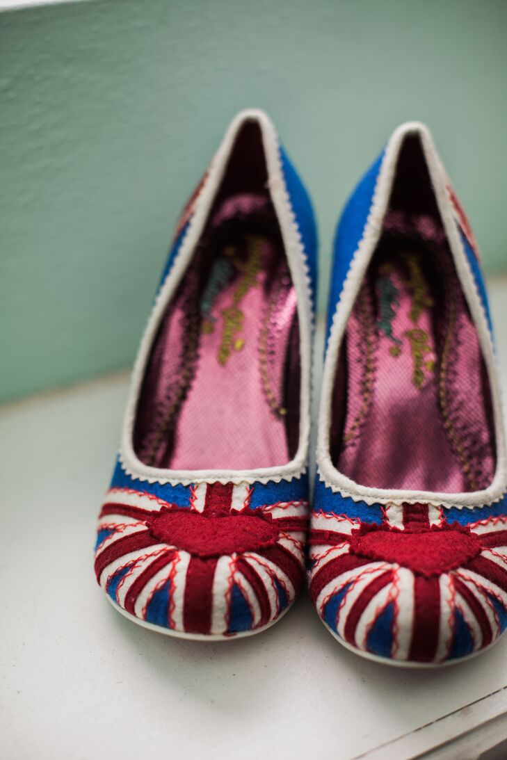 The bride wore Union Jack heels by Irregular Choice for there vintage-inspired day.