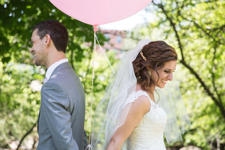 Bride and Groom with Balloon