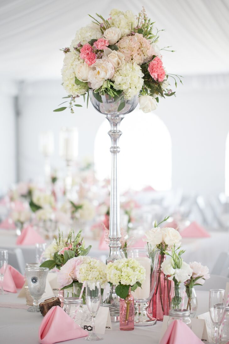 White and Pink Peonies Centerpiece