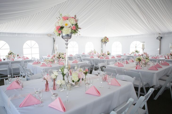 As opposed to the rustic details, the reception looked softer and more romantic with the white and blush colors.