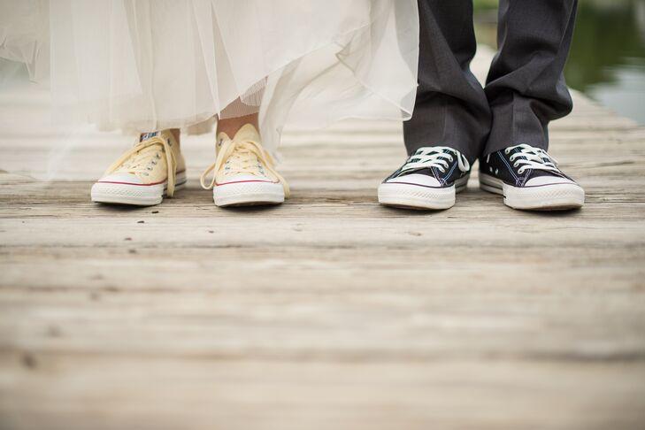 real weddings bride groom wearing chuck taylor converse shoes photo