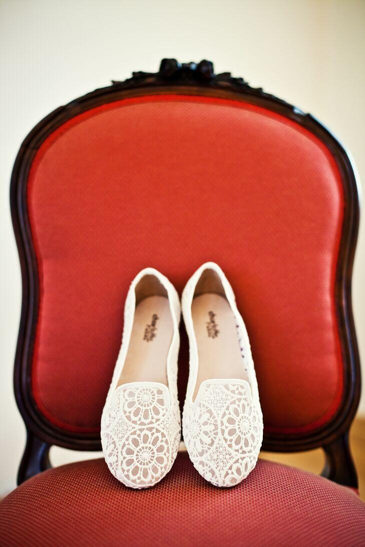 White Crochet Lace Wedding Flats