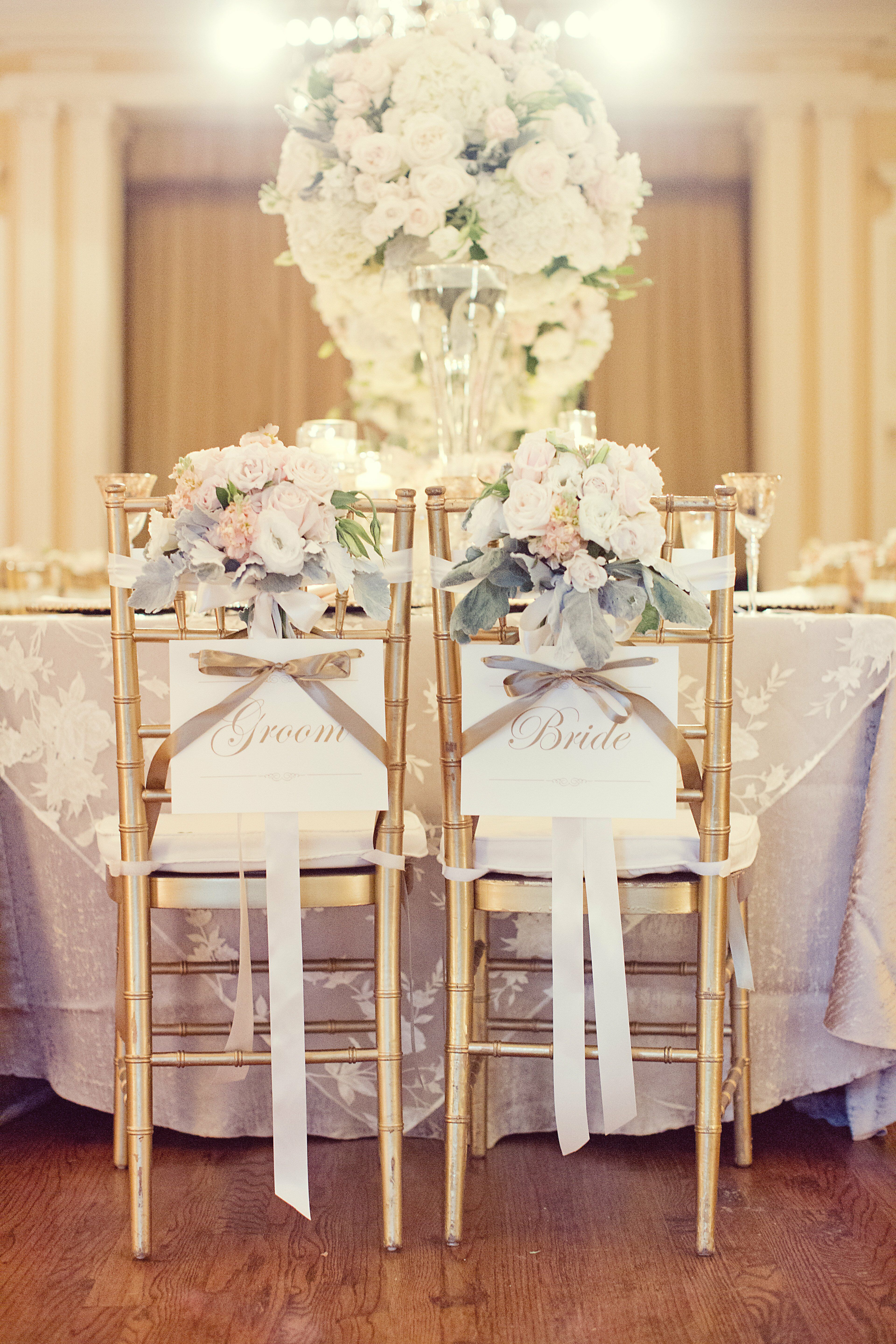 Romantic Bride And Groom Chairs