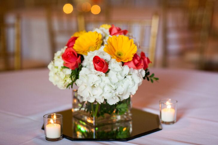 Red white and yellow centerpieces