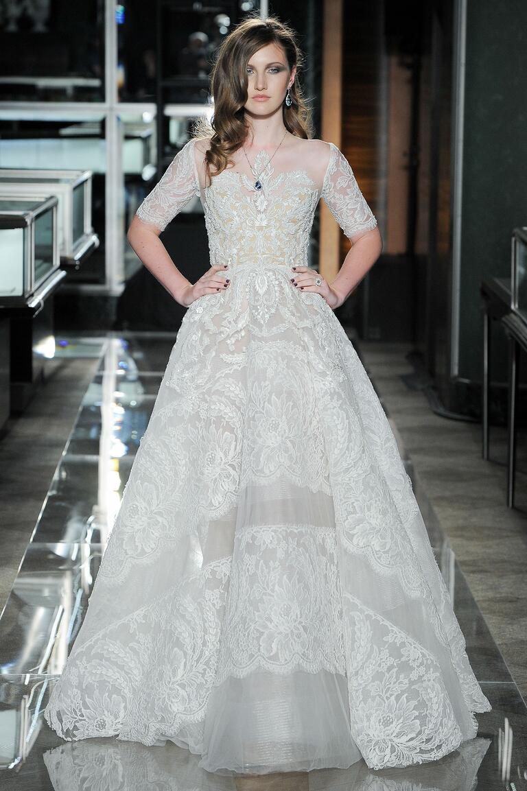 Reem Acra Spring 2018 lace A-line wedding dress