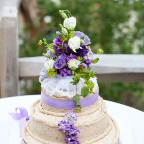 Naked Mocha Cake With Purple Flowers