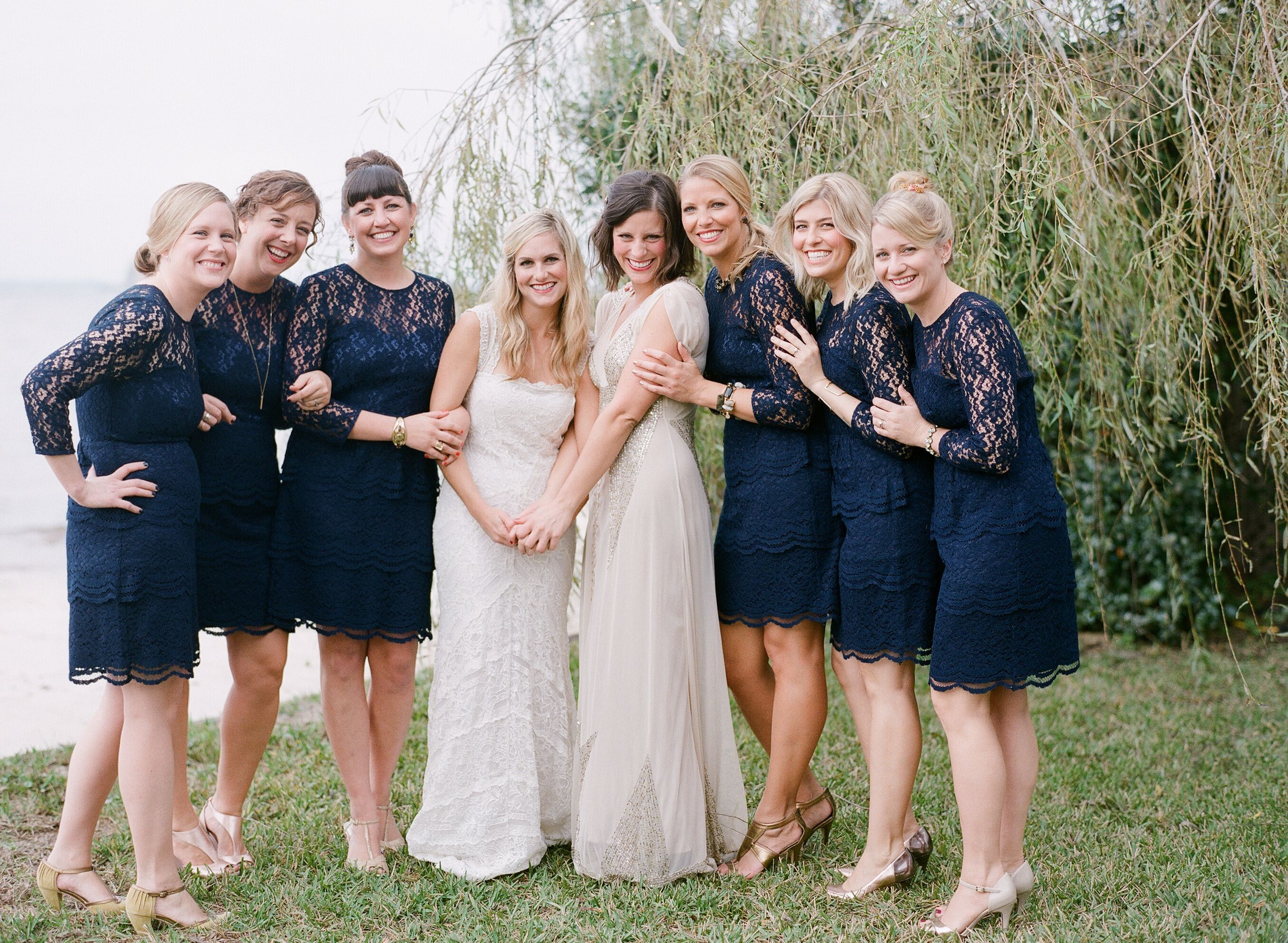 Anthropologie Navy Blue Lace Bridesmaid Dresses