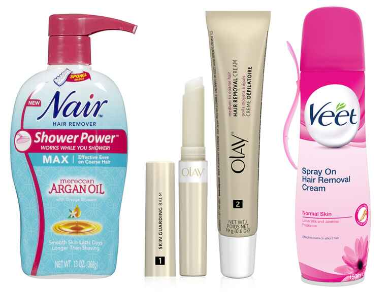 Nair Shower Power Max with Moroccan Argan Oil, Olay Smooth Finish Facial Hair Remover, Veet Hair Remover