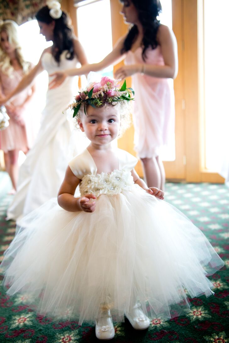 White tulle flower girl dress with pink flower crown mightylinksfo