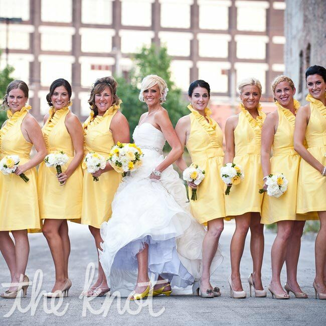 These yellow, ruffled halter dresses had the happy, summery color and artsy and fun look that Brenda wanted.